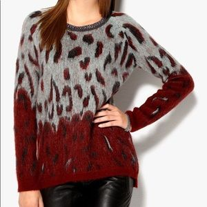 Maison Scotch Biker Sweater Leopard Print Mohair
